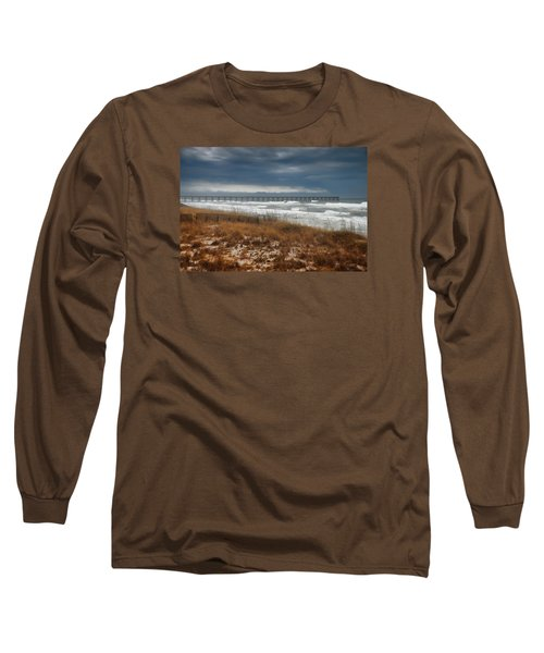 Long Sleeve T-Shirt featuring the photograph Stormy Day At The Pier by Renee Hardison