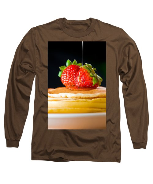 Strawberry Butter Pancake With Honey Maple Sirup Flowing Down Long Sleeve T-Shirt by Ulrich Schade