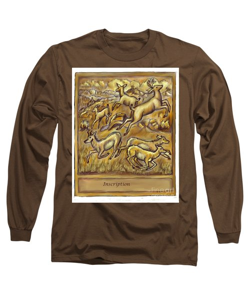 Study For Pronghorn And Deer Sculpture Long Sleeve T-Shirt by Dawn Senior-Trask