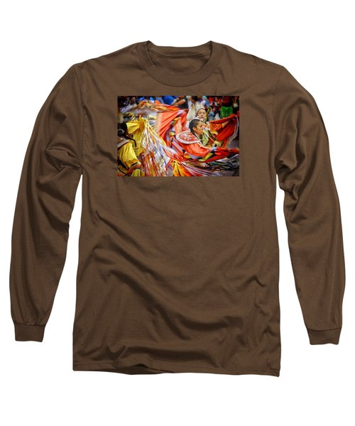 Fancy Shawl Dancers 3 Long Sleeve T-Shirt by Clarice Lakota