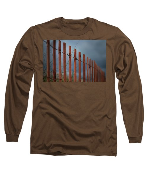 Long Sleeve T-Shirt featuring the photograph Summer Storm Beach Fence by Laura Fasulo