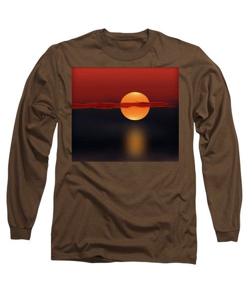 Sun On Red And Blue Long Sleeve T-Shirt by Deborah Smith
