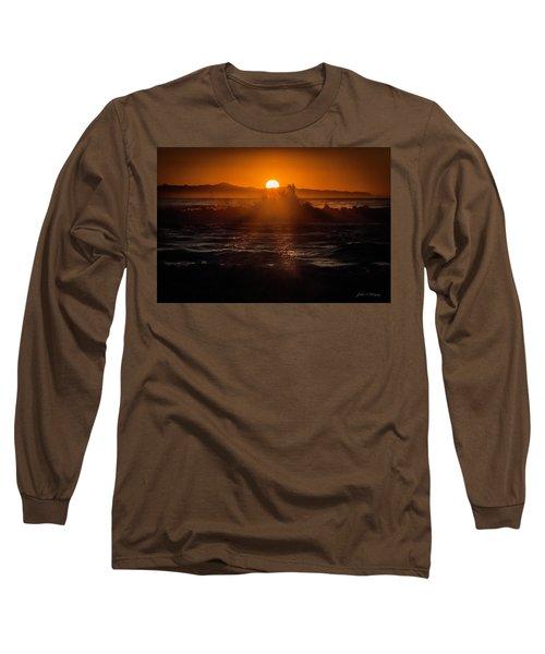 Sun Setting Behind Santa Cruz Island Long Sleeve T-Shirt by John A Rodriguez