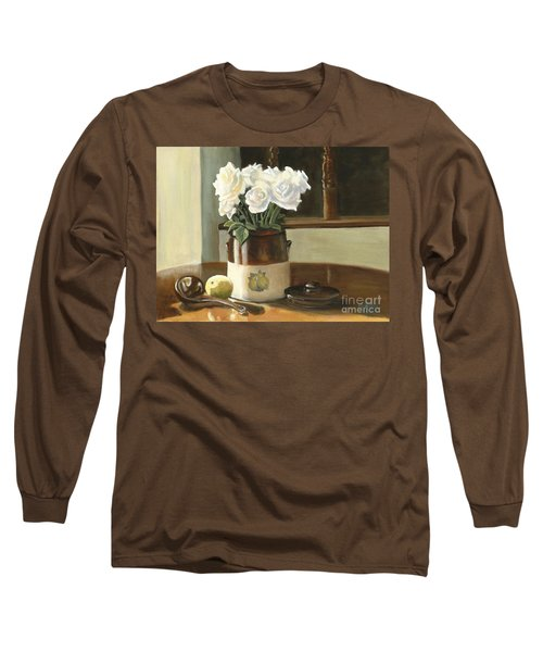 Long Sleeve T-Shirt featuring the painting Sunday Morning And Roses - Study by Marlene Book