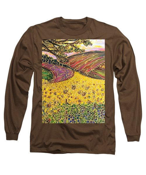 Long Sleeve T-Shirt featuring the painting Sunflower Fields by Rae Chichilnitsky