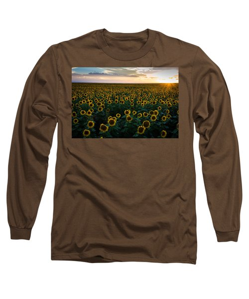 Sunflowers At Sunset Long Sleeve T-Shirt