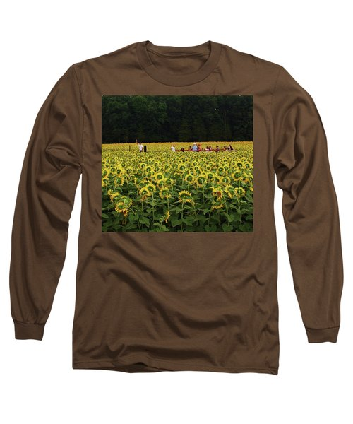 Sunflowers Everywhere Long Sleeve T-Shirt by John Scates