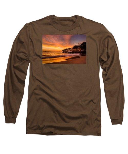 Sunrise At Copacabana Beach Rio De Janeiro Long Sleeve T-Shirt by Celso Bressan