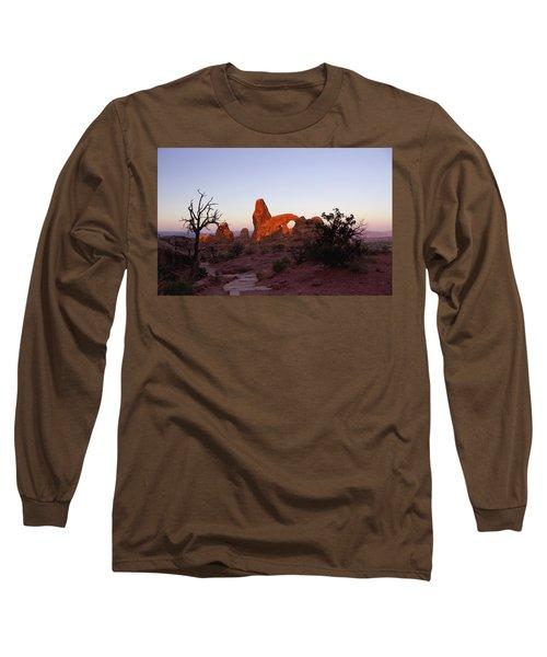 Sunrise At Tower Arch Long Sleeve T-Shirt by Ellen Heaverlo