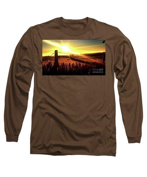 Sunrise On The Wire Long Sleeve T-Shirt by J L Zarek