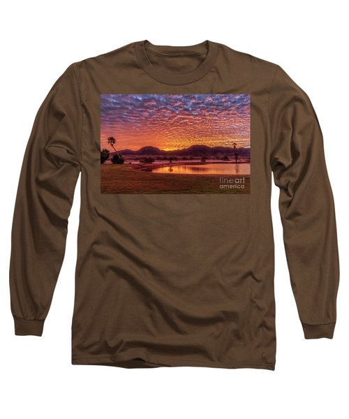 Long Sleeve T-Shirt featuring the photograph Sunrise Over Gila Mountain Range by Robert Bales