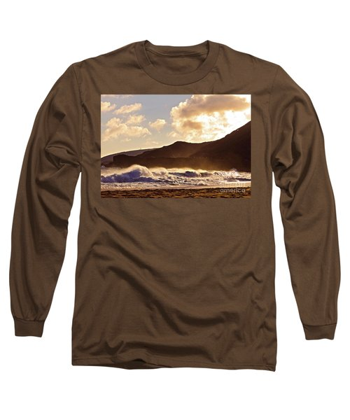 Sunset At Sandy Beach Long Sleeve T-Shirt by Kristine Merc