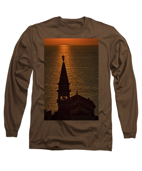 Long Sleeve T-Shirt featuring the photograph Sunset From The Walls #2 - Piran Slovenia by Stuart Litoff