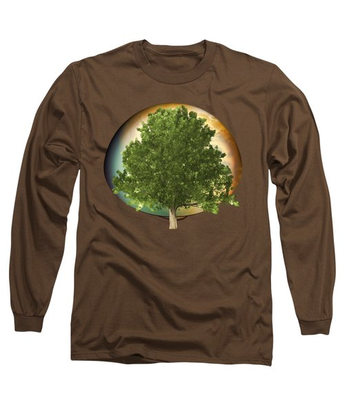Sunset Oak Tree Cartoon Long Sleeve T-Shirt by Linda Phelps