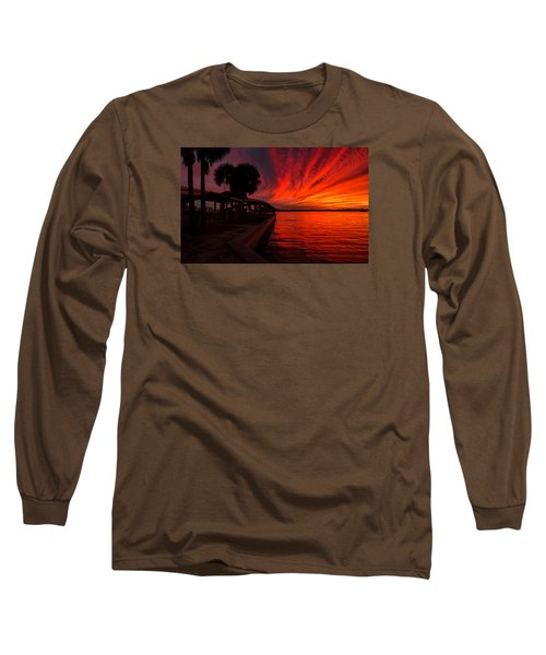 Sunset On Fire Long Sleeve T-Shirt by Dorothy Cunningham