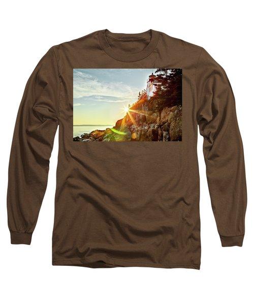 Ocean Sunset On Maine's Bass Harbor Lighthouse Long Sleeve T-Shirt