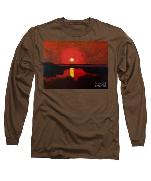 Long Sleeve T-Shirt featuring the painting Sunset On The Lake by Donald J Ryker III
