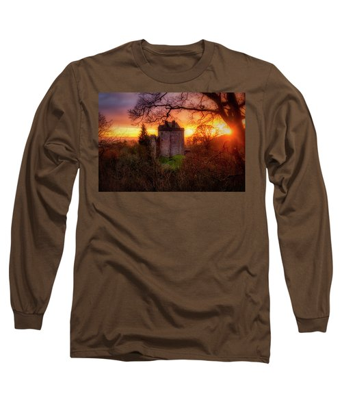Long Sleeve T-Shirt featuring the photograph Sunset Over Castle Campbell In Scotland by Jeremy Lavender Photography