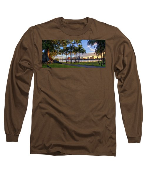 Sunset Over Downtown West Palm Beach From Palm Beach Island Long Sleeve T-Shirt