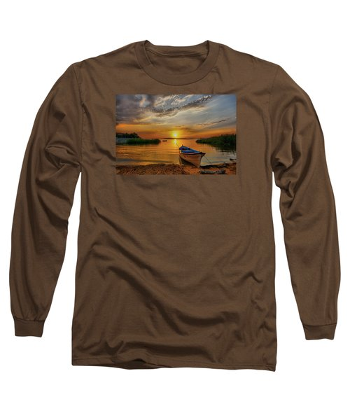 Sunset Over Lake Long Sleeve T-Shirt by Lilia D