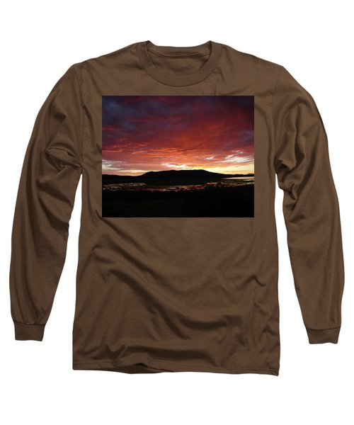 Long Sleeve T-Shirt featuring the painting Sunset Over Mormon Lake by Dennis Ciscel