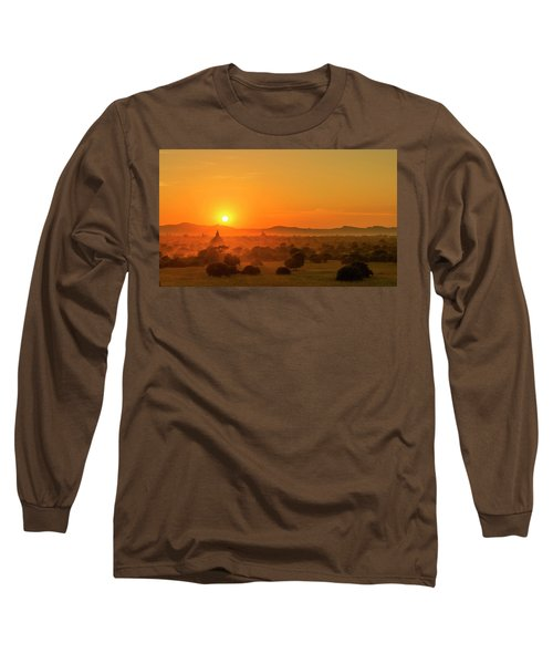 Sunset View Of Bagan Pagoda Long Sleeve T-Shirt