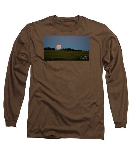 Long Sleeve T-Shirt featuring the photograph Super Moon Over A Bean Field by Mark McReynolds