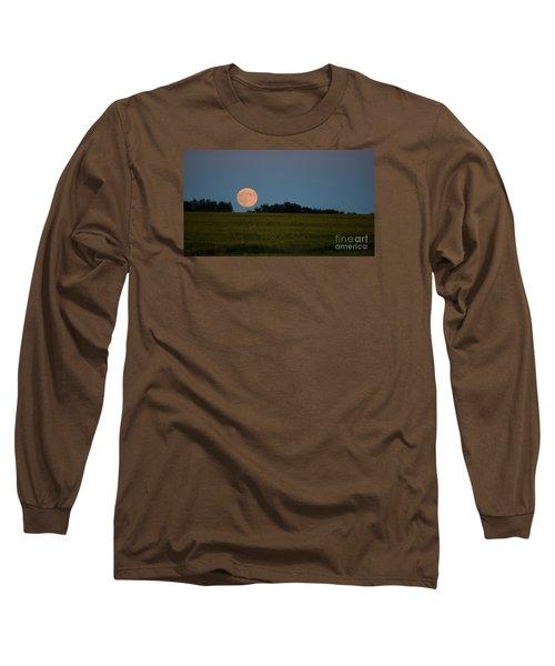 Super Moon Over A Bean Field Long Sleeve T-Shirt