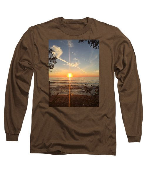 Long Sleeve T-Shirt featuring the photograph Superior Sunset by Paula Brown