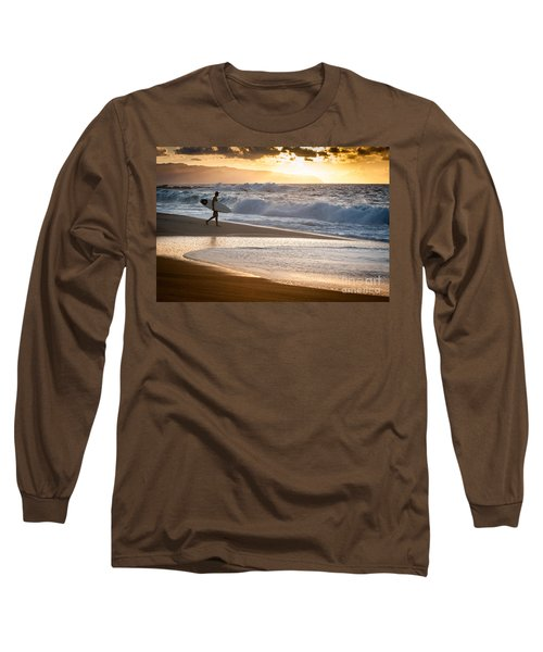 Surfer On Beach Long Sleeve T-Shirt