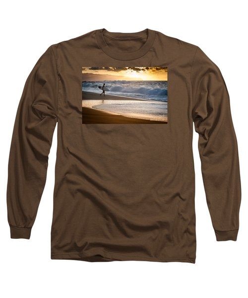 Surfer On Beach Long Sleeve T-Shirt