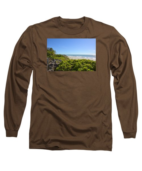 Surfs Up On Casey Key Beach Long Sleeve T-Shirt by Carol Bradley