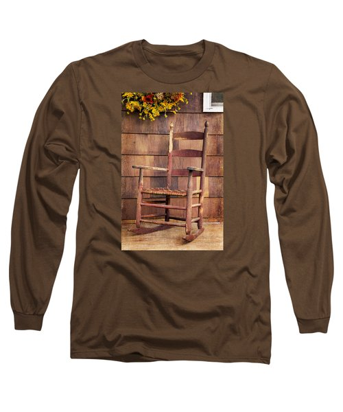 Long Sleeve T-Shirt featuring the photograph Tappan Chairs Rocker, Sandwich, Nh by Betty Denise