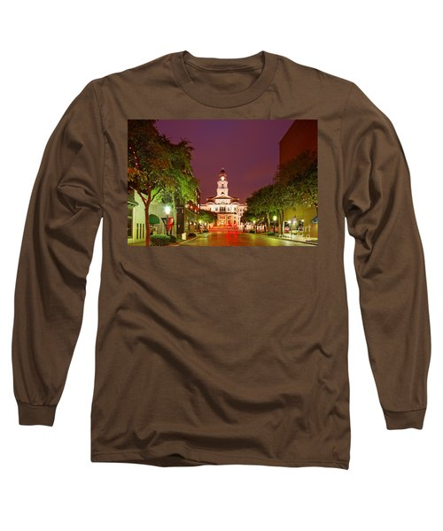 Tarrant County Courthouse At Twilight - Fort Worth North Texas Long Sleeve T-Shirt