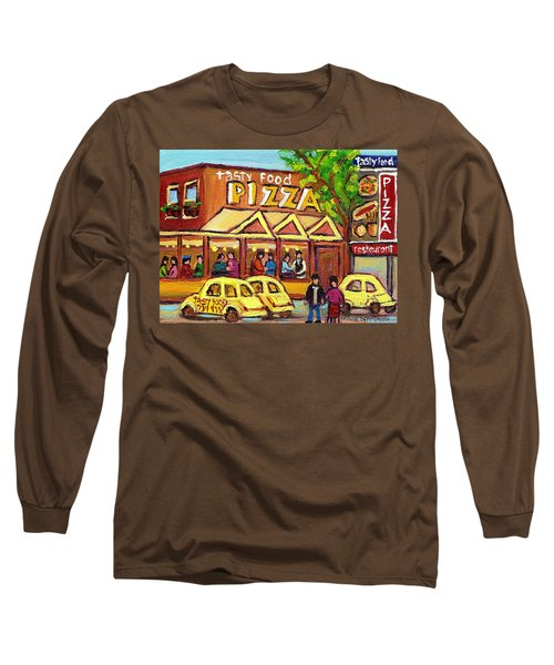 Tasty Food Pizza On Decarie Blvd Long Sleeve T-Shirt