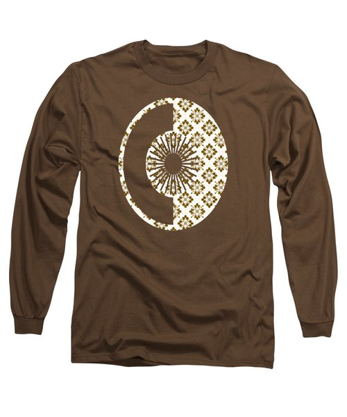 Taupe Floral Pattern Long Sleeve T-Shirt