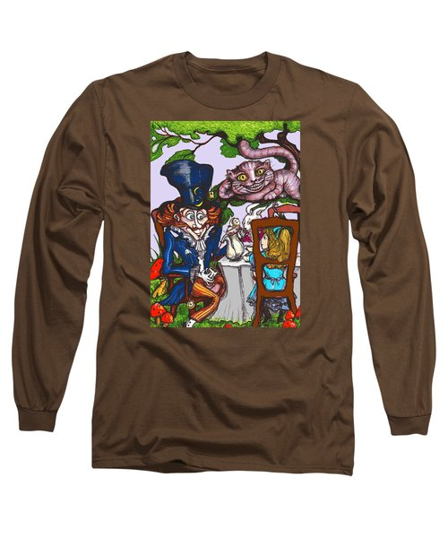 Long Sleeve T-Shirt featuring the drawing Tea Party by Rae Chichilnitsky