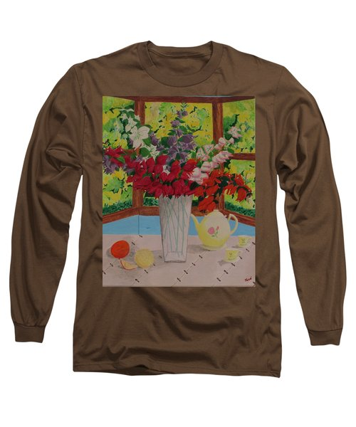 Long Sleeve T-Shirt featuring the painting Tea Time by Hilda and Jose Garrancho