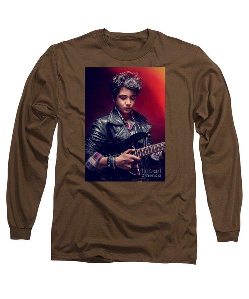 Teen Guy Playing On Guitar Long Sleeve T-Shirt
