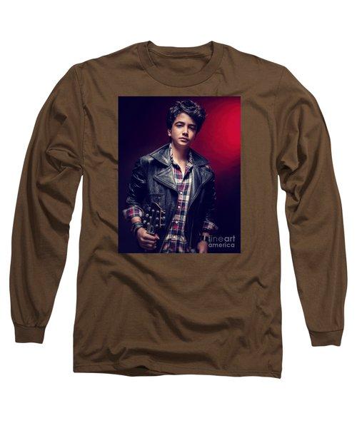 Teen Guy Posing With Guitar Long Sleeve T-Shirt