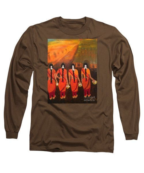 Temple Dancers Long Sleeve T-Shirt by Brindha Naveen