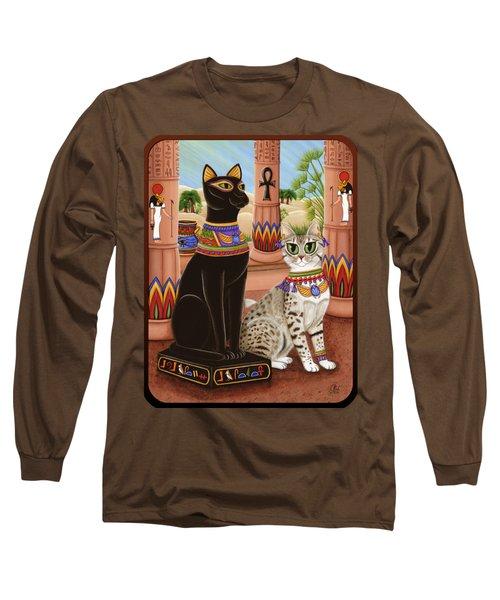 Temple Of Bastet - Bast Goddess Cat Long Sleeve T-Shirt by Carrie Hawks
