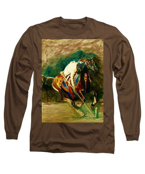 Tent Pegging Sport Long Sleeve T-Shirt by Khalid Saeed