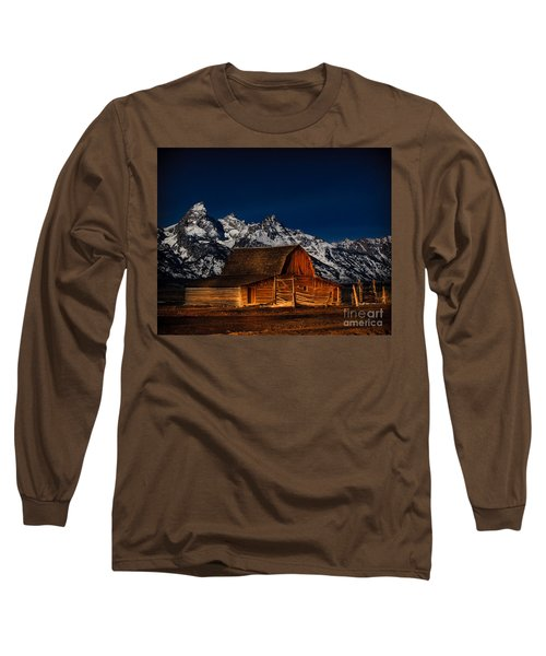 Teton Mountains With Barn Long Sleeve T-Shirt