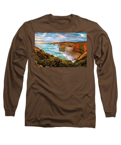 The Apostles Sunset Long Sleeve T-Shirt by Az Jackson