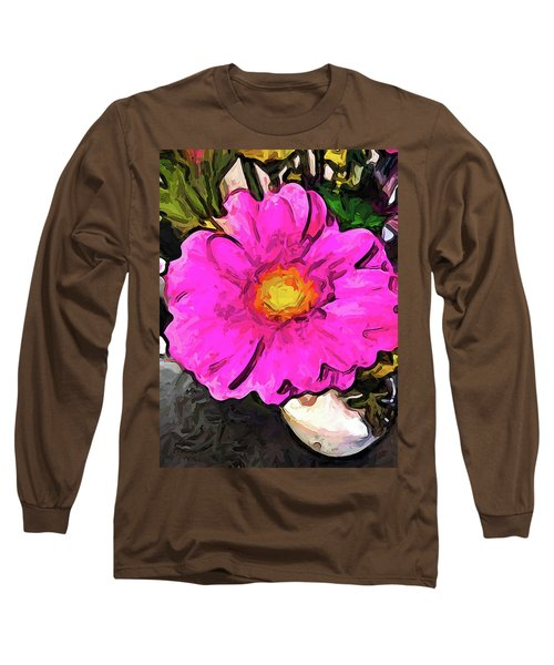 The Big Pink And Yellow Flower In The Little Vase Long Sleeve T-Shirt
