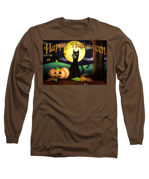 The Black Cat Greeting Card Long Sleeve T-Shirt