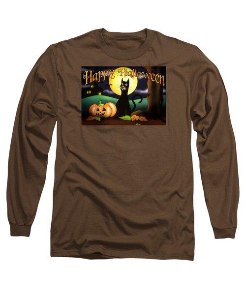The Black Cat Greeting Card Long Sleeve T-Shirt