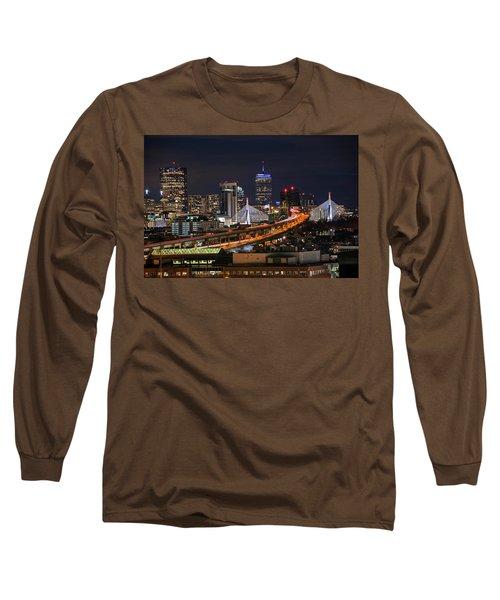The Boston Skyline Boston Ma Full Zakim Long Sleeve T-Shirt