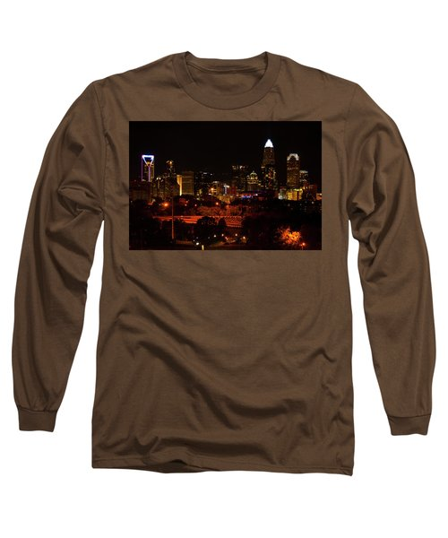 Long Sleeve T-Shirt featuring the digital art The City Of Charlotte Nc At Night by Chris Flees